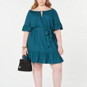 Michael Kors Plus Size Cutout-Neck Ruffled Dress